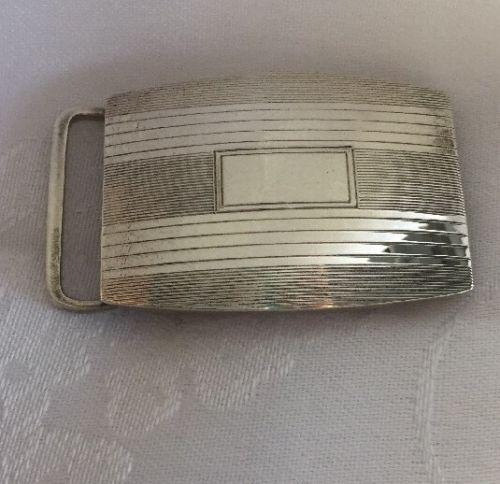 Vintage R Blackinton Sterling Silver Belt Buckle 393 No Monogram Art Deco