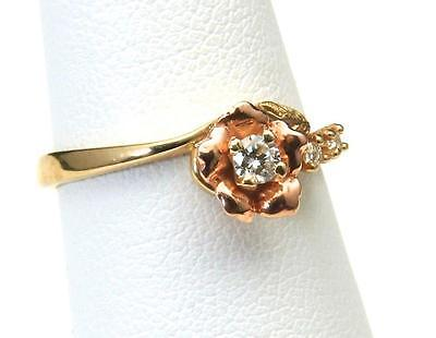 Beautiful Vintage 10k Black Hills Gold Multi Diamond Rose Ring Size 6.5 Flower