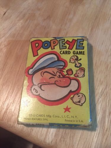 OLD POPEYE CARD GAME ED-U CARDS MFG CORP COMPLETE Ages 4-12 Circa 1950