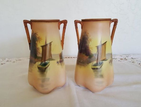 Antique Japanese Nippon Hand-Painted Pair of Gold Vases w/ 2 Handles & Sailboats