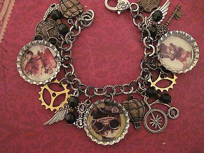 STEAMPUNK CATS Altered Art Charm Bracelet  Handmade