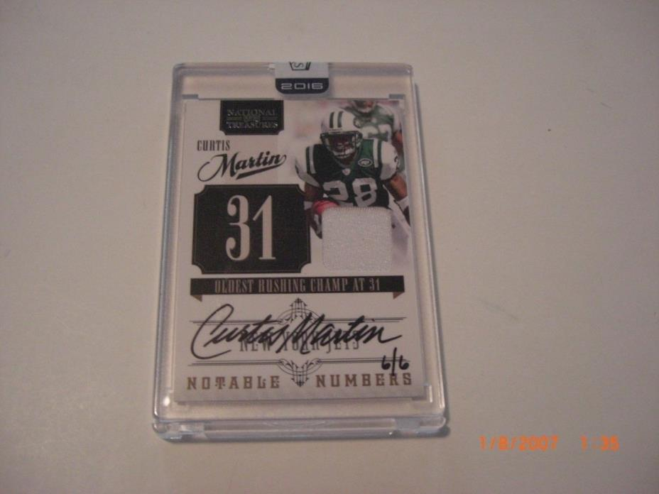 CURTIS MARTIN 2016 PANINI HONORS BUYBACK GAME USED JERSEY AUTO 6/6 SIGNED CARD