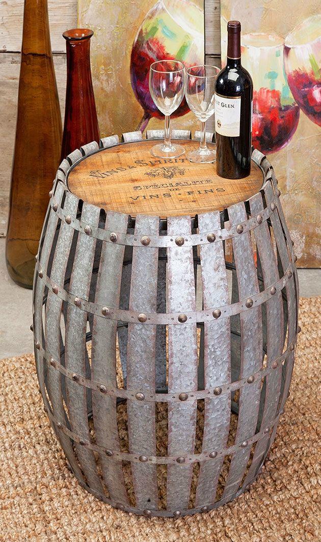 Wine Barrel Table Gibbs Wood Top Riveted Metal Strips Vintage Logo Side Stand