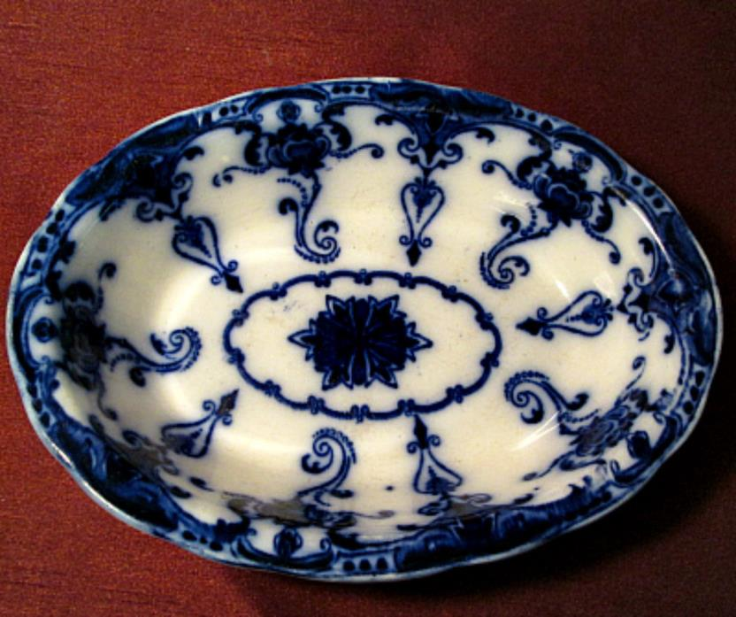 Antique WALDORF FLOW BLUE Lovely OVAL SERVING BOWL Made In England DEEP BLUE
