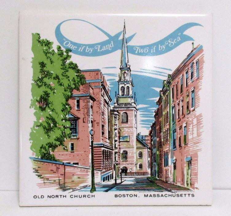 Vintage Screen Craft Old North Church Boston Mass Tile Trivet Wall Hanging