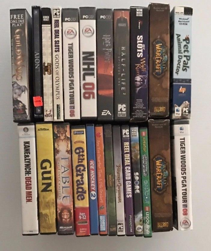 Lot  of 24 PC Games Untested - World of Warcraft, Fable, Guild Wars