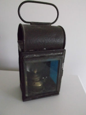 Antique Signal Lantern with Red & Blue Glass with Burner Wick~ Unusual Lantern