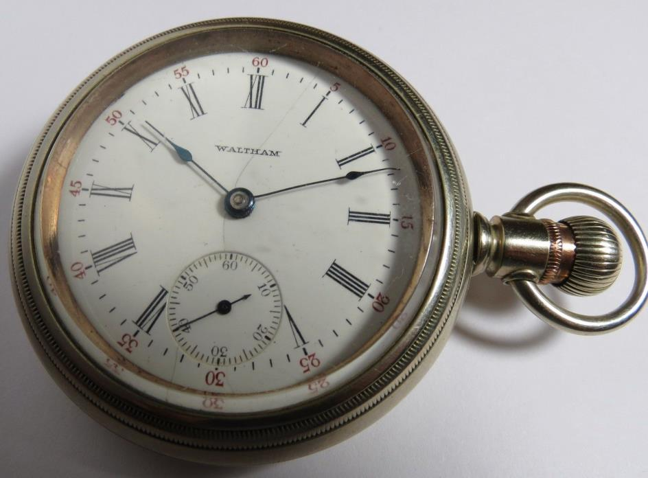 ANTIQUE 1905 WALTHAM 17 JEWELS POCKET WATCH SILVER TONE 18 SIZE FULL PLATE RUNS