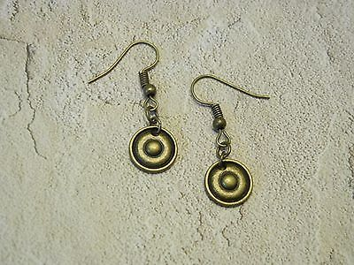 Drop earrings with antique bronze round disc charm (E0089)