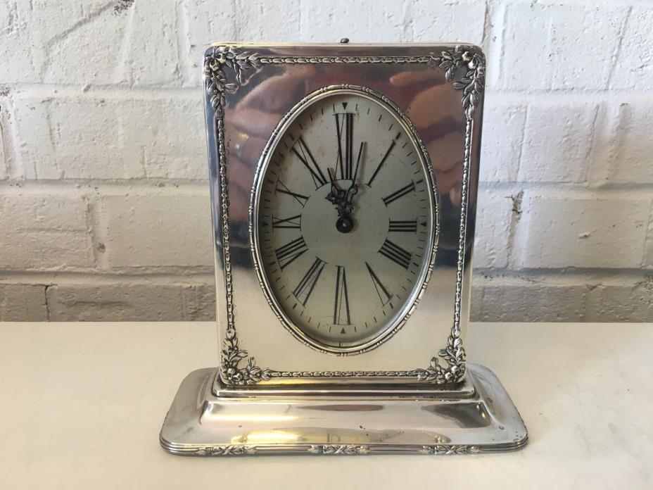 Vintage Antique Reed & Barton Sterling Silver Waltham Clock