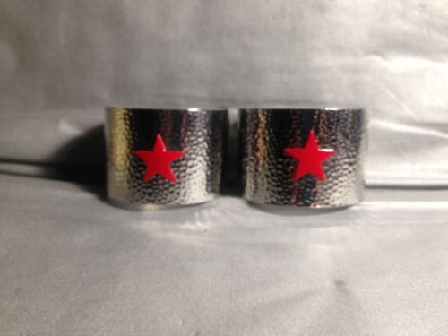 Silver Metal Wonder Woman Short Cuffs, Hammered Bracers, Red Stars, Artisan Made