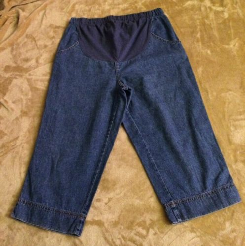 Maternity In Due Time Blue Jean Capri Pant Denim Size 10. Inseam 18.5