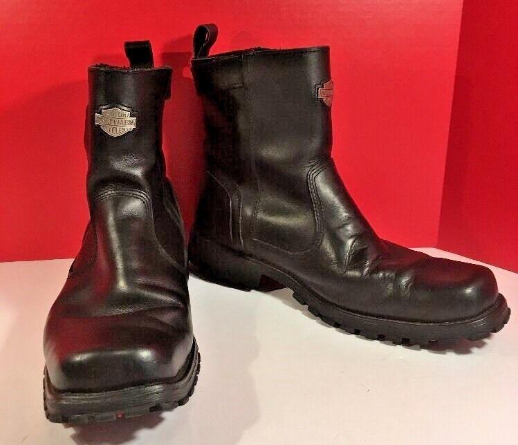 Men's Black Leather Harley Davidson Rugged Boots Size 11 EUR 44