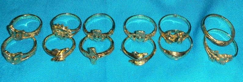 CLEARANCE-12 VERMEIL RINGS-CAT DOME DOLPHIN FROG CLADDAH SUN-NEW