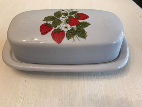 McCoy Strawberry Country Covered Butter Dish Ceramic