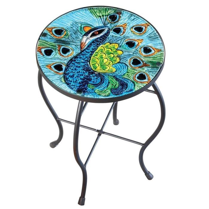 Outdoor Glass Top Round Side Table Patio Deck Garden Peacock Accent Metal Stand