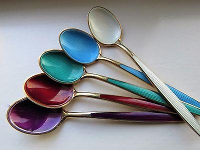 5 Enameled Norway Sterling Silver Demitasse Spoons NOT SCRAP
