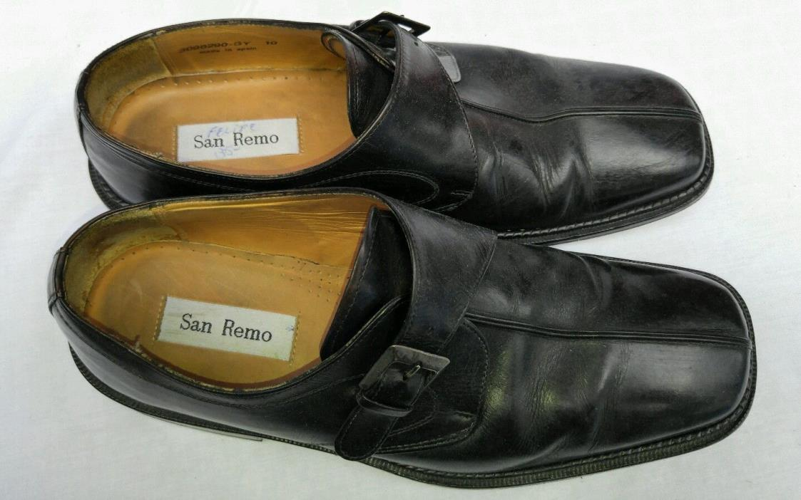 San Remo Size 10 Shoes Casual/Semi-Dress Black Leather Made In Spain