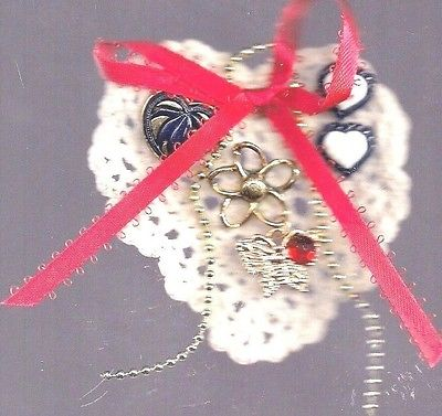 Vintage Pin Crocheted Heart Shape Doily Adorned w Various Jewelry Ribbon Estate