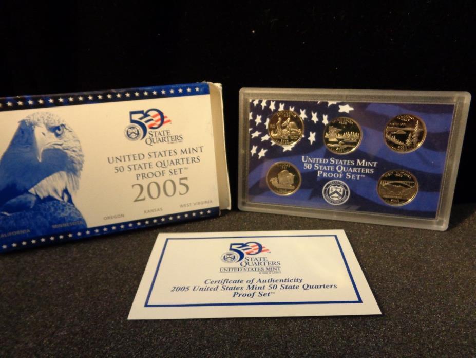 2005 US Mint 50 State Quarters Proof Set - CA, Minn, OR, KS, WV - #791