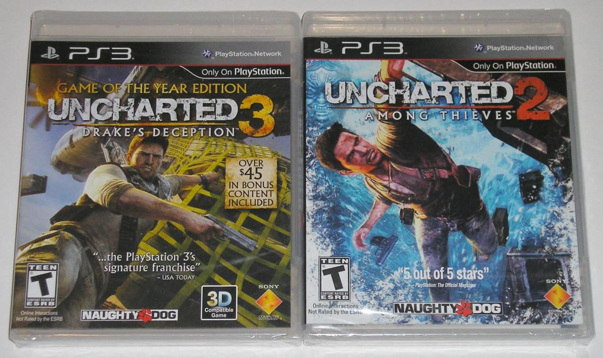 PS3 Game Lot - Uncharted 2 (New) Uncharted 3 Game of the Year Edition (New)