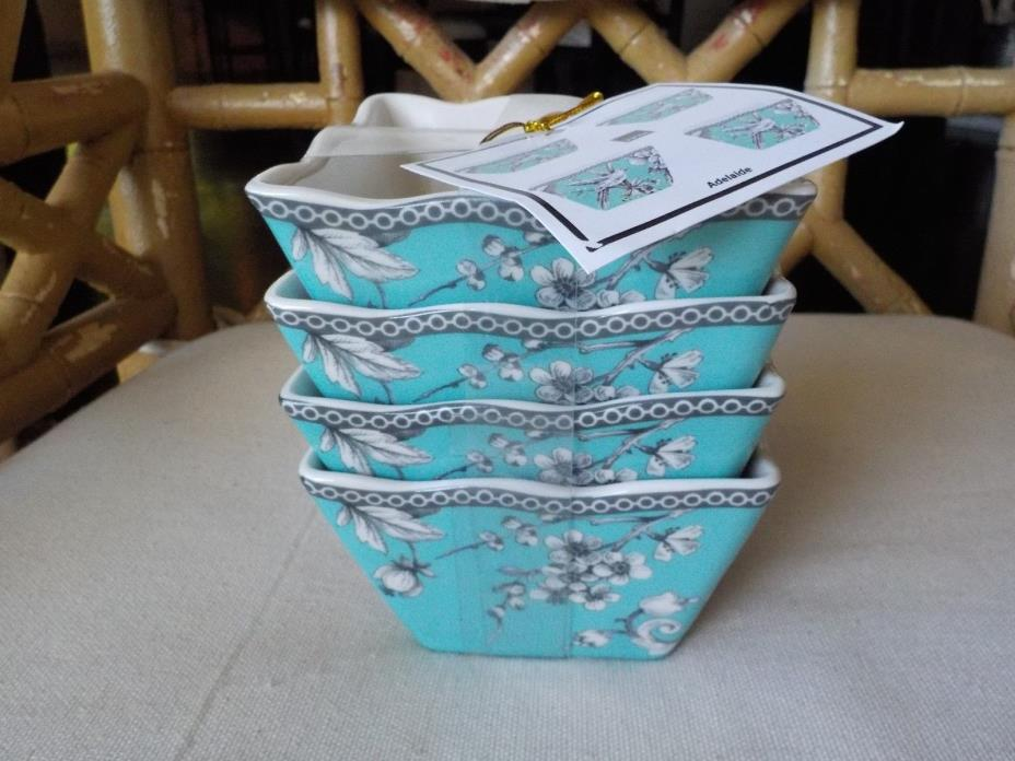 222 FIFTH ADELAIDE TURQUOISE & BLACK BIRD TOILE SET OF 4 SMALL SQUARE BOWLS