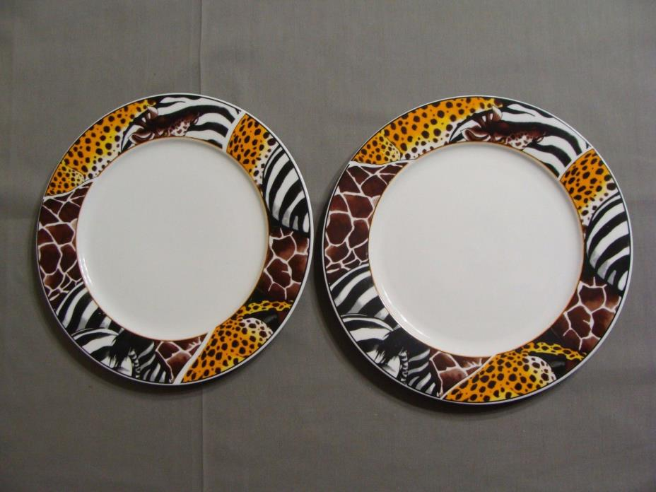 2 FC Porcelain Dinner Plates In Animal Safari Pattern, Cheetah, Zebra & Giraffe