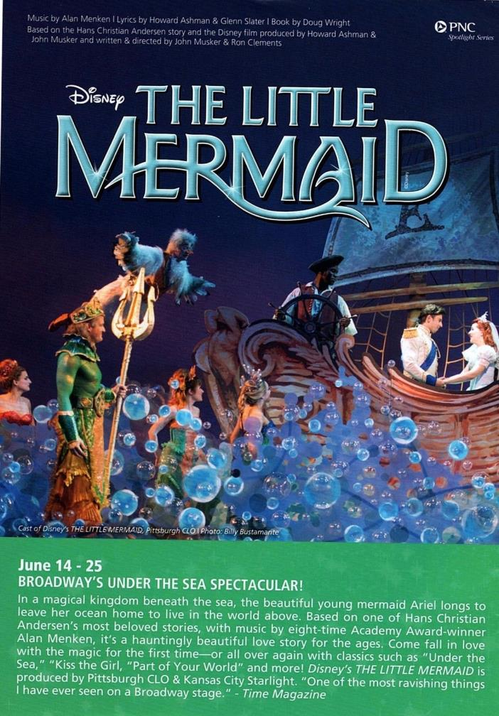 Civic Light Opera The Little Mermaid Tickets (2) $55/ea Orch-C Row G Pickup Only