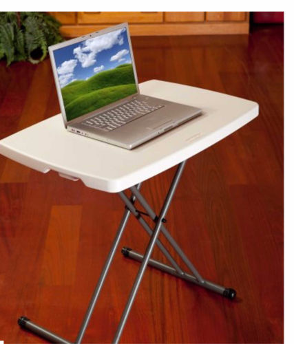 Folding Personal Table Adjustable Lifetime Height Unique Design Broad Leg Stance