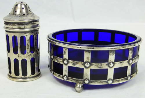 Antique Webster Sterling Silver & Cobalt Glass Master Salt Cellar & Pepper 31.3g
