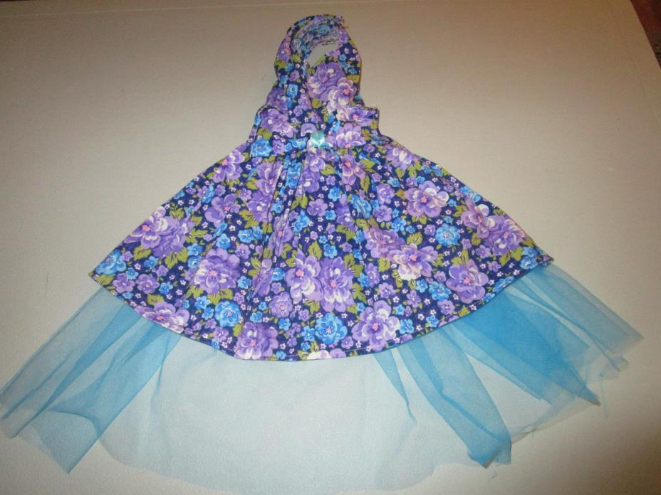 XS female Dog Dress [purple,flowers] Cotton hand crafted