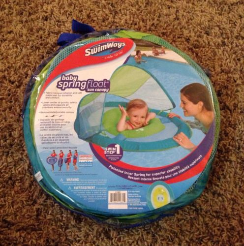 New Swimways Baby Spring Float With Sun Canopy In Blue & Green