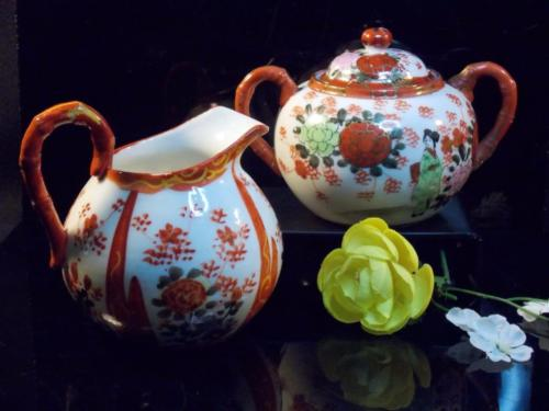 vintage hand painted Floral sugar and creamer fine china