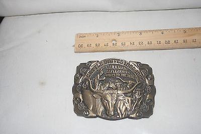 Cattle Drives 1866-1885 longhorns Texas brass belt buckle