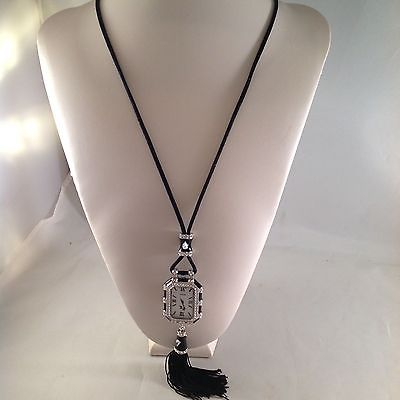FX Black Enamel with White Crystal Pendant Watch 13