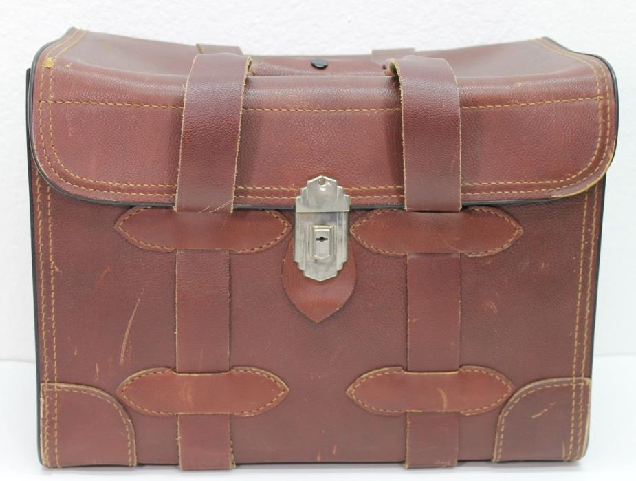 American Oil Company Vintage Leather Briefcase Stitched Attache 1940s 50s Presto