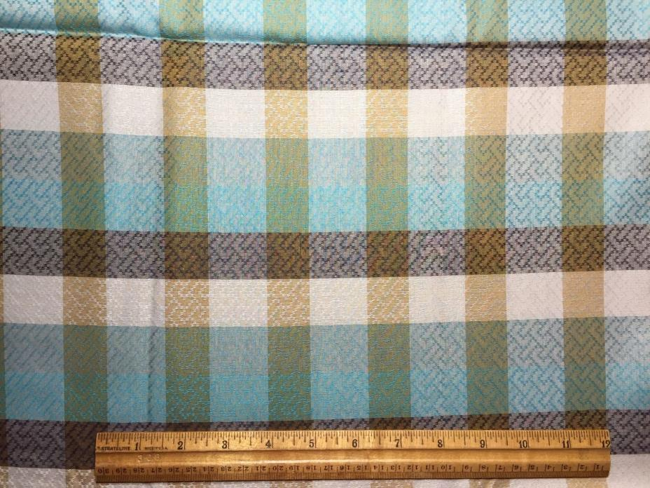 Vintage Cotton Fabric 40s50s PRETTY Turquoise Green & White Woven Plaid 36w 3yds