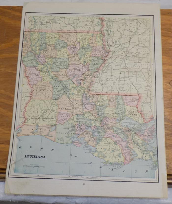 1891 Antique CRAM Map///LOUISIANA