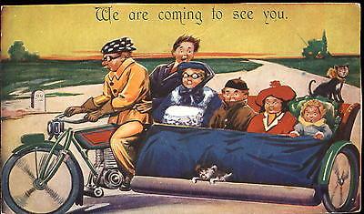 Motorcycle sidecar comic ~ dog cat family grave marker ~ Bamforth humor c1915