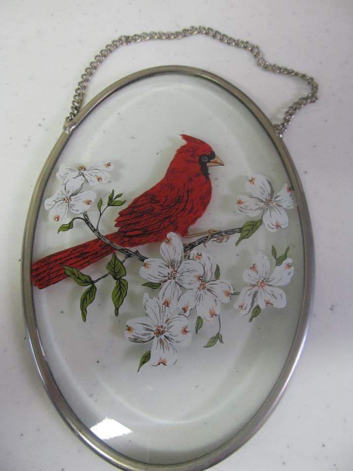 Clear Sun Catcher with cardinal and hanging chain