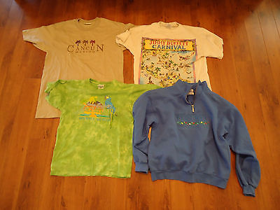 WOMANS JIMMY BUFFETT,COZUMEL AND CANCUN SHIRT LOT. VERY GOOD TO NEW CONDITION!!