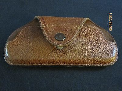 Vtg. Leather Eye Glass Case With Snap Closure.