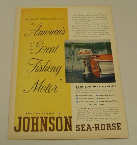 1947 Print Ad Johnson Sea-Horse Outboard Motors Wood Boat Waukegan,IL