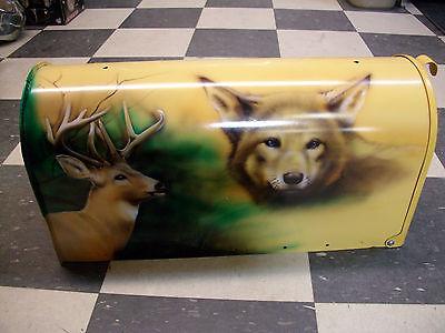 CUSTOM PAINTED MAILBOX MAIL BOX BUCK DEAR WOLF CAMO HUNTING  AIRBRUSH