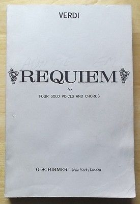 Verdi Requiem for Four Solo Voices and Chorus Choral Song Book