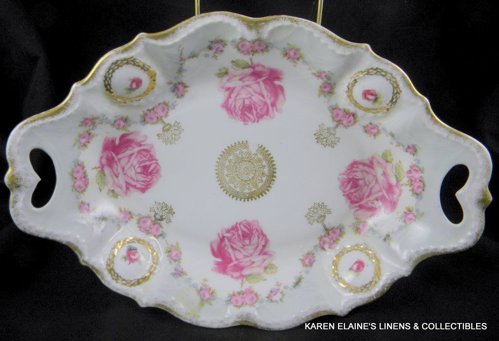 Antique RCV ES Germany Vegetable Dish Handled Roses Gold Trim
