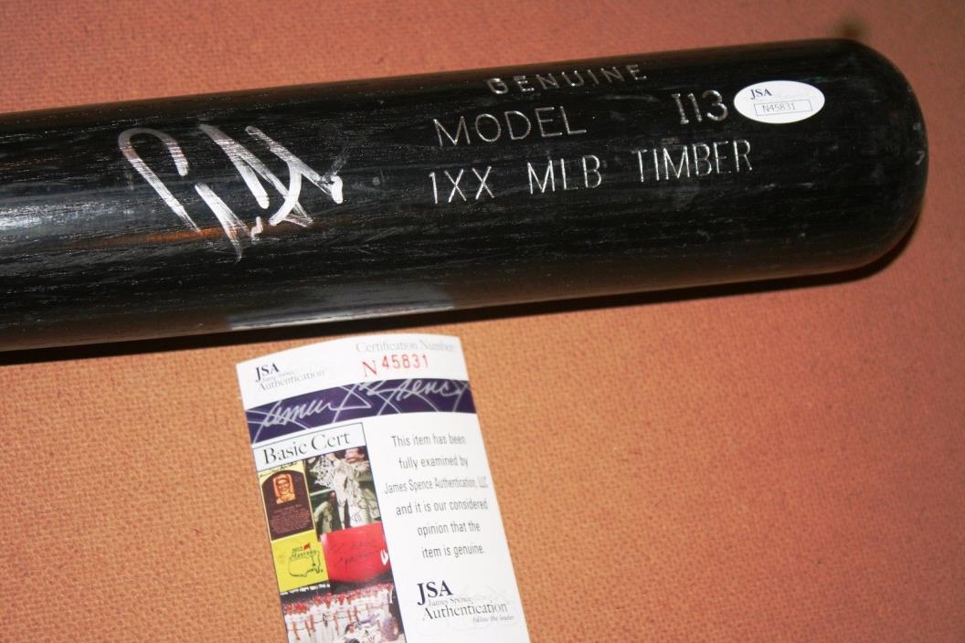 aaron judge signed used rawlings bat new york yankees jsa