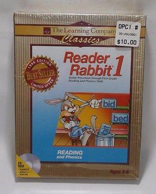 Reader Rabbit 1 Reading Phonics PC Computer 1997 CD-Rom Windows 95