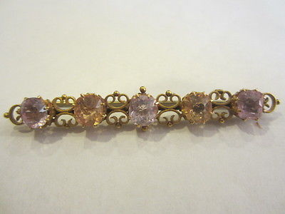 Antique Vintage Jewelry Ornate Brooch Gold Topaz Kunzite Gems Old Rare 1900s