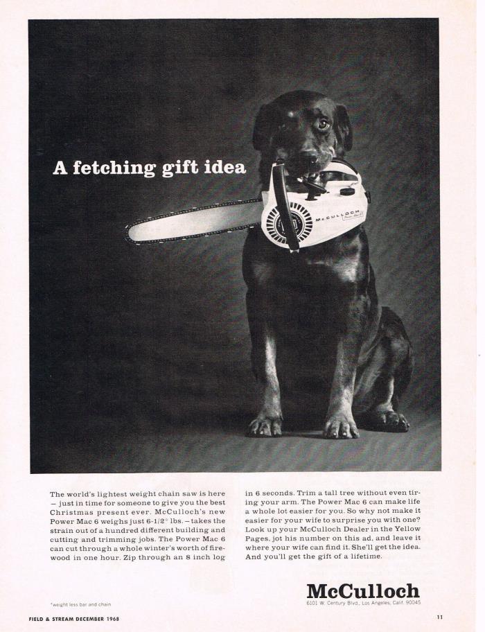 Vintage 1968 McCULLOCH POWER MAC 6 CHAIN SAWS CHAINSAWS Original Print Ad